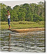 Dugout Canoe In The Rapti River In Chitin National Park-nepal Acrylic Print