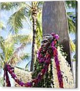 Duke Kahanamoku Covered In Leis Acrylic Print by Brandon Tabiolo