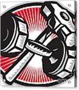 Dumbbell And Sledgehammer Retro Acrylic Print