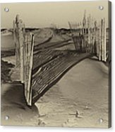 Dune Erosion Fence Outer Banks Nc Antique Plate Img_3761 Acrylic Print