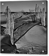 Dune Erosion Fence Outer Banks Nc B And W Img_3761 Acrylic Print