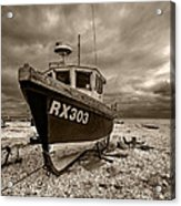 Dungeness Boat Under Stormy Skies Acrylic Print