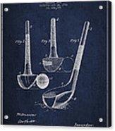 Dunn Golf Club Patent Drawing From 1900 - Navy Blue Acrylic Print