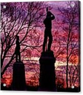 Durell's Independent Battery D And 48th Pa Volunteer Infantry-a1 Sunset Antietam Acrylic Print by Michael Mazaika
