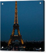 Dusk At Eiffel Tower Acrylic Print
