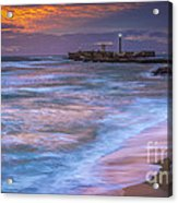 Dusk At La Caleta Beach Cadiz Spain Acrylic Print
