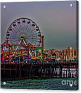 Dusk At The Santa Monica Pier Acrylic Print