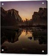 Dusk At Valley View Yosemite National Park Acrylic Print