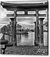 Dusk At World Showcase Lagoon Black And White Walt Disney World Acrylic Print