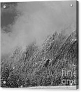 Dusted Flatirons Low Clouds Boulder Colorado Bw Acrylic Print