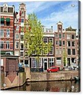 Dutch Canal Houses In Amsterdam Acrylic Print