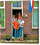 Dutch Family On Orange Day In Enkhuizen-netherlands Acrylic Print