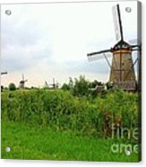 Dutch Landscape With Windmills Acrylic Print by Carol Groenen