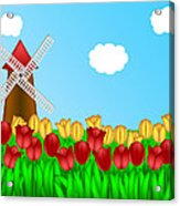 Dutch Windmill In Tulips Field Farm Illustration Acrylic Print