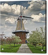 Dutch Windmill The Dezwaan On Windmill Island In Holland Michigan Acrylic Print