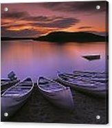 D.wiggett Canoes On Shore, Pink And Acrylic Print by First Light