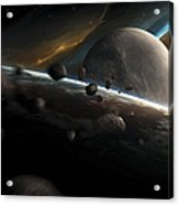 Dynamic Space Scene With Incoming Acrylic Print