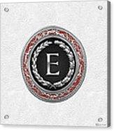E - Silver Vintage Monogram On White Leather Acrylic Print