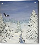 Eagle On Winter Lanscape Acrylic Print