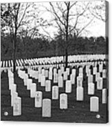 Eagle Point National Cemetery In Black And White Acrylic Print by Mick Anderson