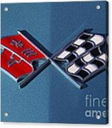 Early C3 Corvette Emblem Blue Acrylic Print