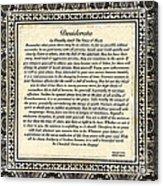 Early Gothic Style Desiderata Acrylic Print