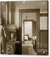 Early Kitchen With A Wood Kitchen Stove Circa 1906 Acrylic Print