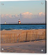 Early Morning Beach And Lighthouse Acrylic Print