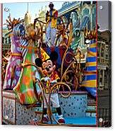 Early Morning Main Street With Mickey Walt Disney World 3 Panel Composite Acrylic Print