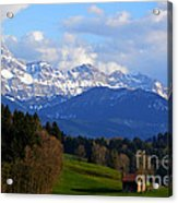 Early Snow In The Swiss Mountains Acrylic Print