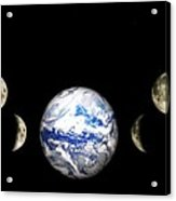 Earth And Phases Of The Moon Acrylic Print