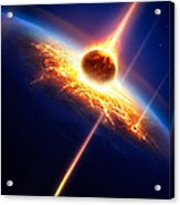 Earth In A  Meteor Shower Acrylic Print