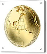 Earth In Gold Metal Isolated On White Acrylic Print