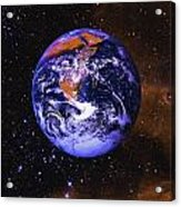 Earth In Space With Gaseous Nebula And Acrylic Print