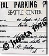 Earth Wind Fire Seattle Parking Permit Acrylic Print