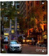 East 44th Street - Rhapsody In Blue And Orange - Close View Acrylic Print