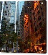 East 44th Street - Rhapsody In Blue And Orange Acrylic Print
