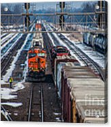 Eastbound And Westbound Trains Acrylic Print