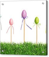 Easter Eggs In Grass Acrylic Print