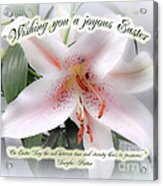 Easter Greeting Card - White Lily With Quote Acrylic Print