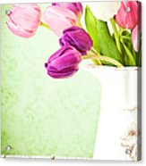 Easter Tulips And Copy Space Acrylic Print