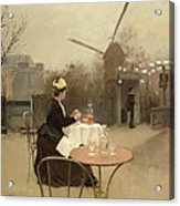 Eating Al Fresco Acrylic Print by Ramon Casas i Carbo