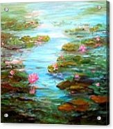 Edge Of The Lily Pond Acrylic Print by Barbara Pirkle