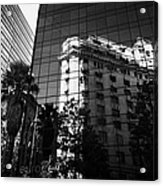 edificio ariztia building reflected in modern bank buildings in the financial district of Santiago Chile Acrylic Print