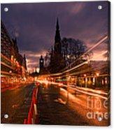 Edinburgh Dawn Fire In The Sky Acrylic Print