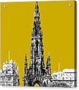 Edinburgh Skyline Scott Monument - Gold Acrylic Print