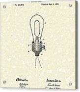 Edison Electric Lamp 1882 Patent Art Acrylic Print