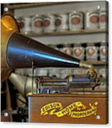 Edison Home Phonograph With Morning Glory Horn Acrylic Print