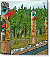 Edward Smarch Totem Poles At Teslin Tlingit Heritage Memorial Center In Teslin-yt Acrylic Print