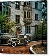 Edwardian Lady By Car Acrylic Print
